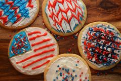 Patriotic decorated cookies royalty free stock photography