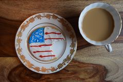 Divided Patriotic cookies. Patriotic decorated cookies divided. America divided by political turmoil. Political divisions Stock Photos