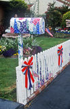 Patriotic decorations on residential mailbox Royalty Free Stock Images