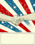 Patriotic design with handshake Stock Image
