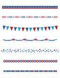 Patriotic divider border. Blue and res stars and stripes divider / frame collection on white background Stock Images