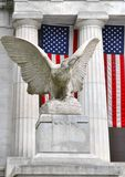 Patriotic Eagle and American Flag at Grant`s Tomb in Morningside Heights, Upper Manhattan in New York City. US.  stock photos