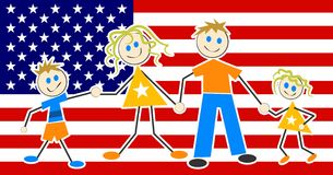 Patriotic Family vector illustration