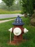 Patriotic Fire Hydrant. A patriotic person painted this rural fire hydrant Royalty Free Stock Image