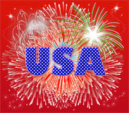 Patriotic Fireworks. Typography illustration of USA with fireworks exploding behind on a red background stock illustration