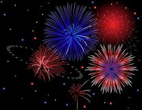 Patriotic Fireworks Display. Illustration of a night time fireworks display in red, white, and blue Stock Photos