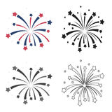 Patriotic fireworks icon in cartoon style isolated on white background. Patriot day symbol stock vector illustration. Patriotic fireworks icon in cartoon style Stock Photography
