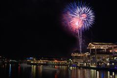 Patriotic Fireworks In Miami Royalty Free Stock Images