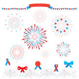 Patriotic fireworks. Set of Fireworks, ribbons banner, bow tie, tied ribbon, garland, confetti, Star burst elements isolated on white background. For celebrate Royalty Free Stock Photos