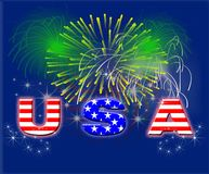Patriotic Fireworks USA Royalty Free Stock Photo