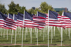 Patriotic Flag Display. View of a patriotic flag display Royalty Free Stock Photo
