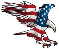 Patriotic Flying American Flag Eagle Vector Illustration. Beautiful USA Bald Eagle, colored with the American flag, proudly flying in bold red white and blue royalty free illustration
