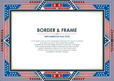 Patriotic Frame, with american flag style and color design. White, red and blue. suitable for certificate border or frame, wedding, menu, cover, and other vector illustration