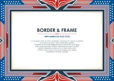 Patriotic Frame, with american flag style and color design. White, red and blue. suitable for certificate border or frame, wedding, menu, cover, and other stock illustration