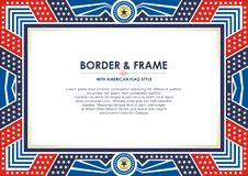 Patriotic Frame, with american flag style and color design. White, red and blue. suitable for certificate border or frame, wedding, menu, cover, and other royalty free illustration