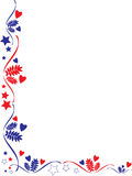 Patriotic frame border. A patriotic frame border with stars and stripes and hearts and leafs Stock Photo