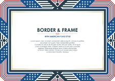 Patriotic Frame or border, with american flag style and color design. Frame or border, with Patriotic american flag style and color design, white, red and blue stock illustration