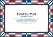 Patriotic frame border, with american flag style and color design. White, red and blue. suitable for certificate border or frame, wedding, menu, cover, and stock illustration