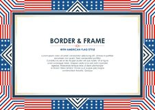 Patriotic frame border, with american flag style and color design. White, red and blue. suitable for certificate border or frame, wedding, menu, cover, and royalty free illustration