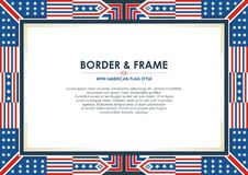 Patriotic frame border, with american flag style and color design. White, red and blue. suitable for certificate border or frame, wedding, menu, cover, and vector illustration