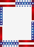 Patriotic Frame Border. Vector illustration of red stripes and the stars on blue stripes page border / frame design Stock Photography