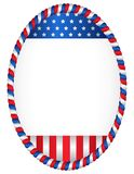 Patriotic frame. Red and blue oval American flag border / frame isolated on white Stock Photos