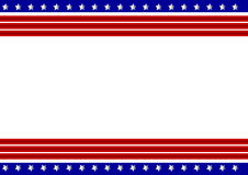 Patriotic Frame. Vector illustration of red stripes and the stars on blue stripes page border / frame design Stock Photography