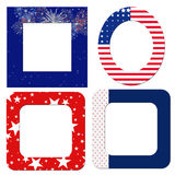 Patriotic Frames. Blank patriotic frames in red, white and blue with flags and fireworks Stock Photo