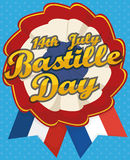 Patriotic French Cockade with Ribbons for Bastille Day, Vector Illustration Royalty Free Stock Photo