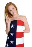 Patriotic Girl. Beautiful redheaded isolated patriotic girl Royalty Free Stock Photo