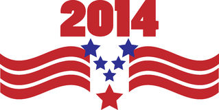 2014 Patriotic Graphic. 2014 with flag-inspired red, white and blue stars and wavy stripes Stock Photos