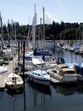 Patriotic Harbor. Bainbridge Island sail boats with American Flags Stock Image