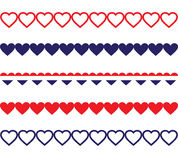 Patriotic Heart Borders. Red, white, and blue heart shaped borders Stock Images