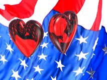 Patriotic hearts for Valentine. Two glass hearts floating over an American flag with reflections and refractions. Show our troops that your heart is with them stock illustration