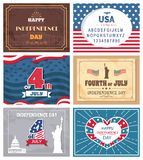 Patriotic Holiday Celebrated on 4th of July Vector. Illustration set of greeting cards with memorials, posters dedicated to Independence day of America royalty free illustration
