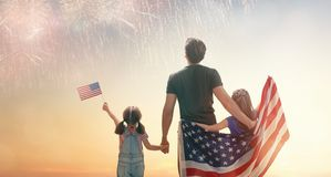Patriotic holiday. Happy family stock image