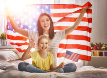 Patriotic holiday and happy family Royalty Free Stock Images