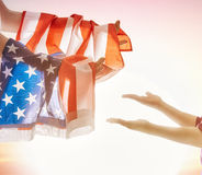 Patriotic holiday and happy family Stock Images
