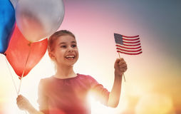 Patriotic holiday and happy kid Royalty Free Stock Image