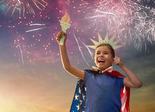 Patriotic holiday. Happy kid Royalty Free Stock Image