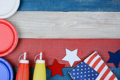 Patriotic Holiday Picnic Table. High angle shot of a patriotic red, white and blue picnic table. Horizontal format with copy space. Perfect for American Holidays Stock Photography