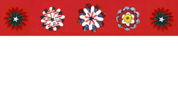 Patriotic Holiday Red, White and Blue Flowers. Patriotic Holiday Red, White and Blue Handmade Paper Flower Flowers Border Paper Stock Photos