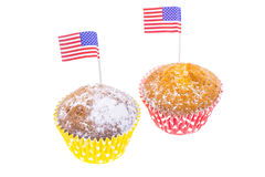 Patriotic holiday 4th of july: cupcakes with American flag. Studio Photo Stock Photography