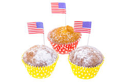 Patriotic holiday 4th of july: cupcakes with American flag. Studio Photo Royalty Free Stock Image