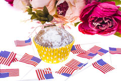 Patriotic holiday 4th of july: cupcakes with American flag. royalty free stock photography