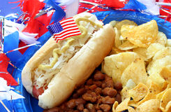 Patriotic Hot Dog Meal Stock Photo