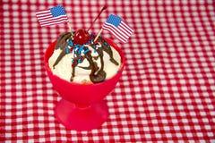 Patriotic hot fudge sundae Stock Images