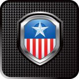 Patriotic icon on black checkered web button Royalty Free Stock Images