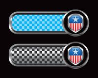Patriotic icon on blue and black checkered tabs Stock Image