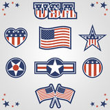 Patriotic Icons. A set of eight patriotic symbols. Background placed on separate layer Royalty Free Stock Photo
